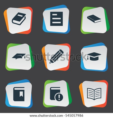 Set Of 9 Simple Books Icons. Can Be Found Such Elements As Pen, Notebook, Book Cover And Other.