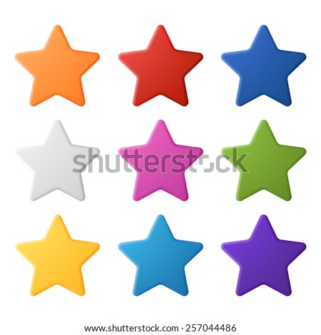 Set of simple colorful stars, EPS 10 - stock vector