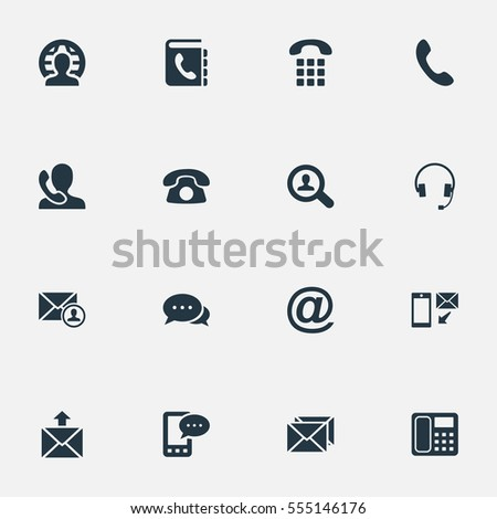 Set Of 16 Simple Contact Icons. Can Be Found Such Elements As Speaking Human, Job Research, Telephone And Other.