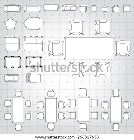 Set simple 2 d flat vector icons stock vector hd royalty free set of simple 2d flat vector icons furniture for floor plan outline on blueprint technical grid malvernweather Image collections
