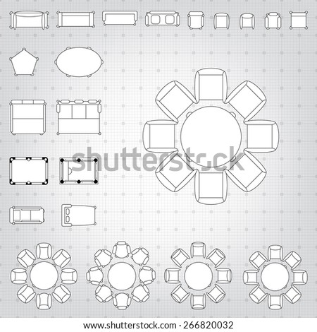 Architectural plan symbols stock images royalty free images set of simple 2d flat vector icons furniture for floor plan outline on blueprint technical grid malvernweather Choice Image