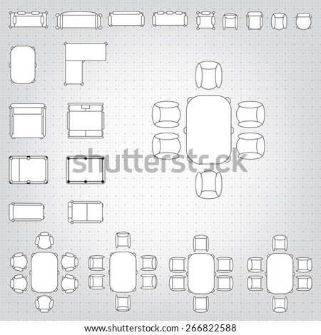 Set simple 2 d flat vector icons stock vector 266822588 shutterstock set of simple 2d flat vector icons furniture for floor plan outline on blueprint technical grid malvernweather Images