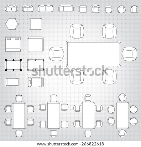 Set simple 2d flat vector icons stock vector 266822618 shutterstock set of simple 2d flat vector icons furniture for floor plan outline on blueprint technical grid malvernweather Choice Image