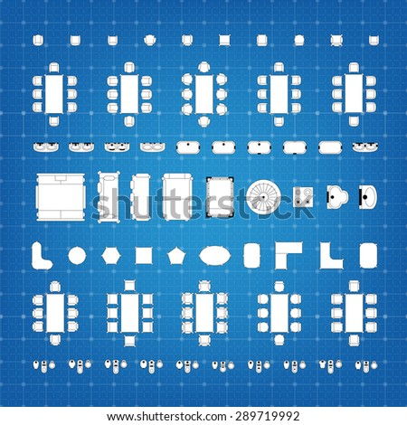 Set of simple 2d flat vector icons furniture for floor plan outline on blueprint technical grid background - stock vector