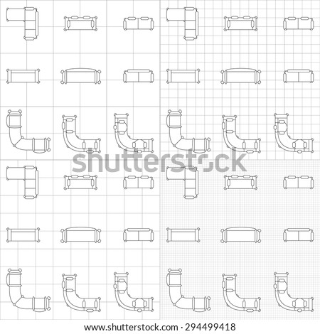 Set simple 2d flat vector icons stock vector 294499418 shutterstock set of simple 2d flat vector icons furniture for floor plan outline on blueprint technical grid malvernweather Choice Image