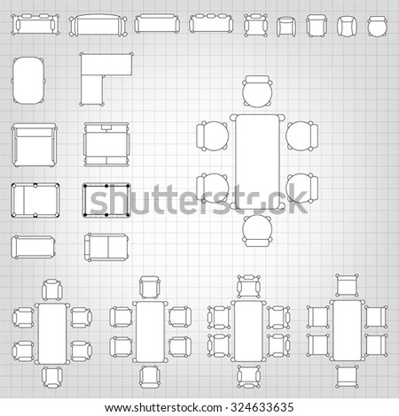 Set simple 2 d flat vector icons stock vector 324633635 shutterstock set of simple 2d flat vector icons furniture for floor plan outline on blueprint technical grid malvernweather Images
