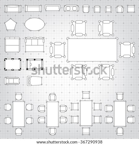 Set simple 2 d flat vector icons stock vector 367290938 shutterstock set of simple 2d flat vector icons furniture for floor plan outline on blueprint technical grid malvernweather Images