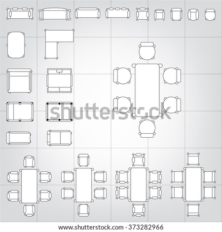 Advertisement billboards outdoor advertisement templates vector set of simple 2d flat vector icons furniture for floor plan outline on blueprint technical grid malvernweather Image collections