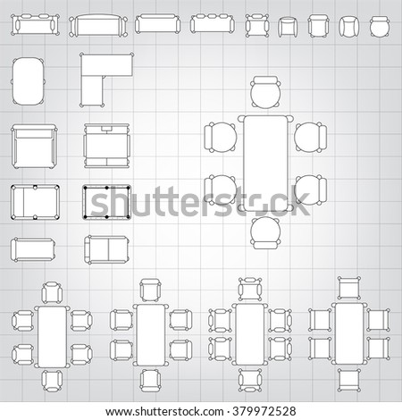 Set simple 2d flat vector icons stock vector 379972528 shutterstock set of simple 2d flat vector icons furniture for floor plan outline on blueprint technical grid malvernweather Choice Image