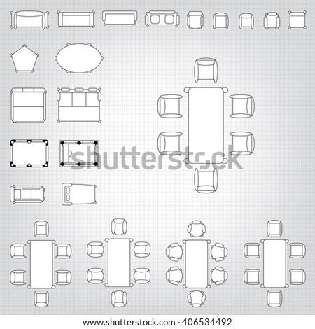 Standard Furniture Symbols Used Architecture Plans Stock Vector 262247078 Shutterstock