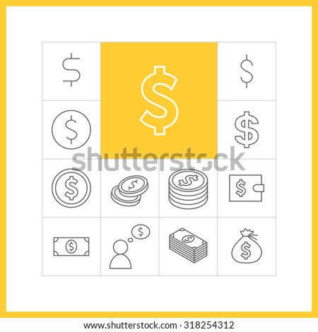 Set of simple dollar icons in trendy linear style.  Collection of finance vector items - stock vector