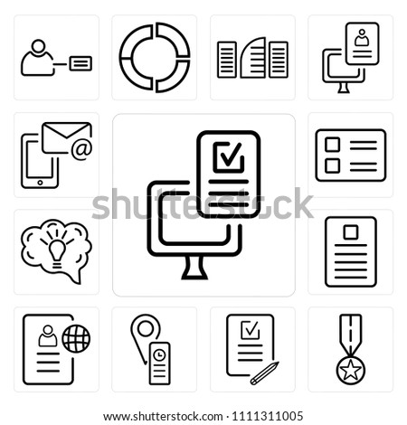 set 13 simple editable icons such stock vector 1111311005 shutterstock Resume Assignment set of 13 simple editable icons such as resume medal test office
