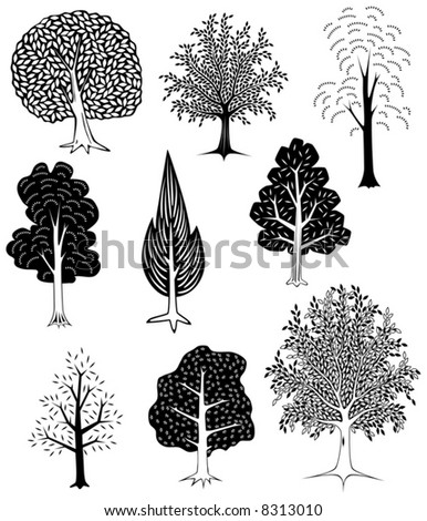 Set of simple editable vector tree designs - stock vector