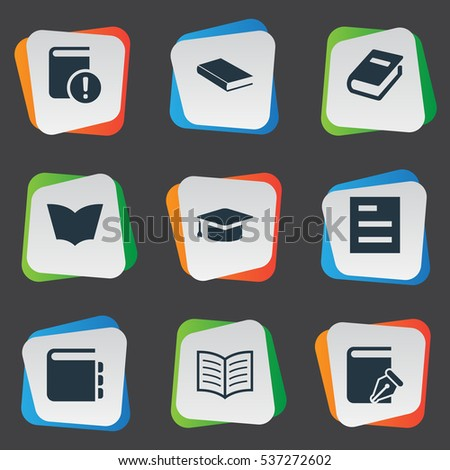 Set Of 9 Simple Education Icons. Can Be Found Such Elements As Book Page, Sketchbook, Reading And Other.