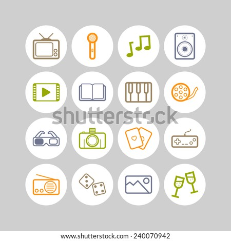 Set of simple entertainment icons - stock vector