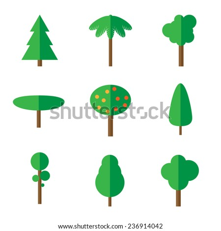 Set of simple flat tree icons - stock vector