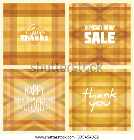 Set of simple geometric patterns for Thanksgiving Day. Vector graphic backgrounds - stock vector