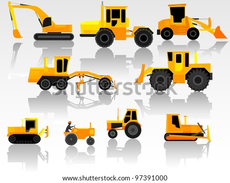 Set of simple icon of road engineering transportation: tractors, bulldozers, excavators and grader.