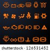Set of simple illuminated car dashboard icons - stock vector