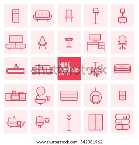 Set Of Simple Line Design Home Furniture Vector Icons