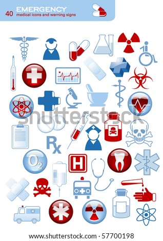 set of 40 simple medical icons and warning signs - stock vector