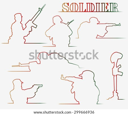 set of simple outlines of soldiers