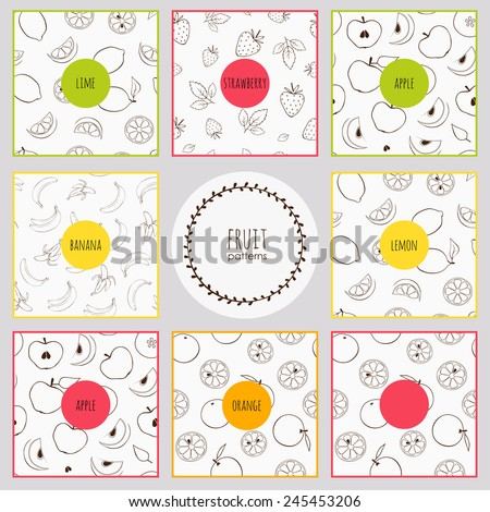 set of simple patterns with doodle fruits, seamless textures - stock vector