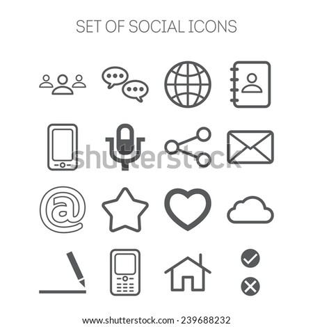 Set of simple social icons - stock vector