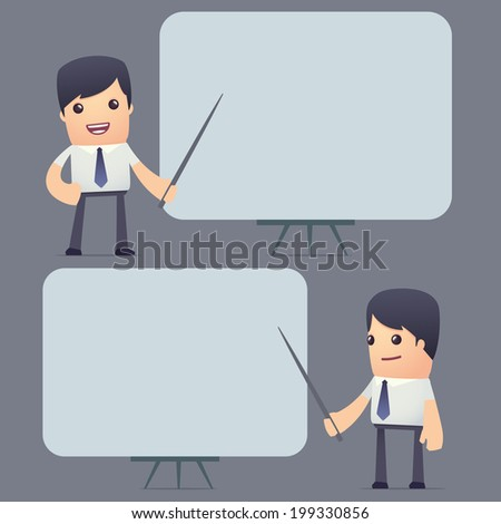set of simple universal characters in different poses. businessm. Use the character in dialog poses with other characters from this series - stock vector