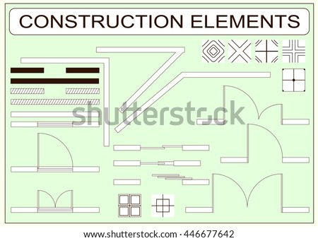 Set of simple vector icons as design elements - wall, window, door, sliding doors, tiles samples - stock vector