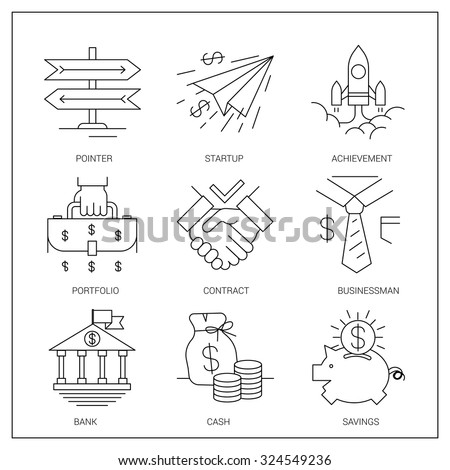 Set of simple vector icons. Direction and staff development, achieve better results, the conclusion of beneficial agreements, - stock vector