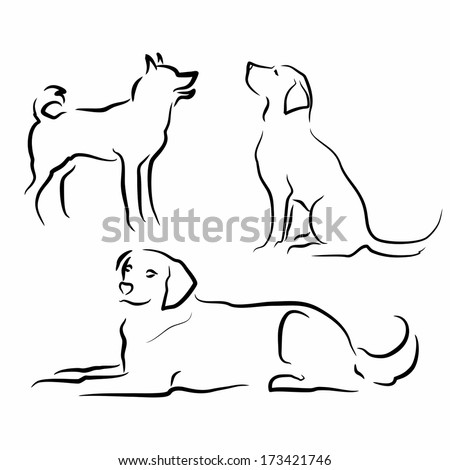 set of simple vector silhouettes of dogs in different poses - stock vector