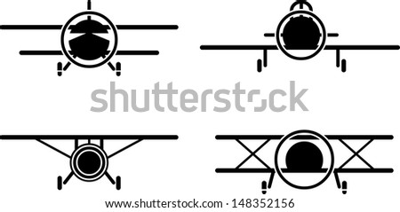 Set of simple vintage airplane front view icons. - stock vector