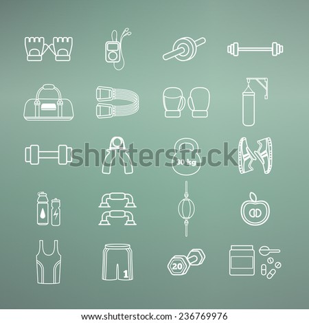 Set of simple white fitness thin line icons for boys. Vector illustration of sport symbols in flat style on the gradient background - stock vector