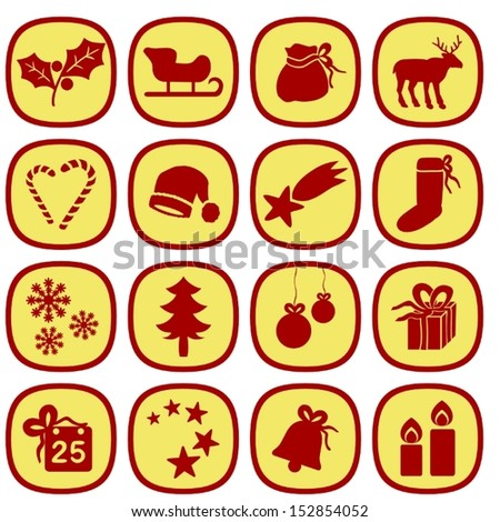 Set of simple xmas icons in gold and red colors. This is a vectorial image, can be resized without loss of quality. - stock vector