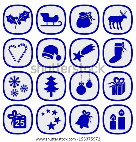 Set of simple xmas icons in silver and blue colors.  - stock vector