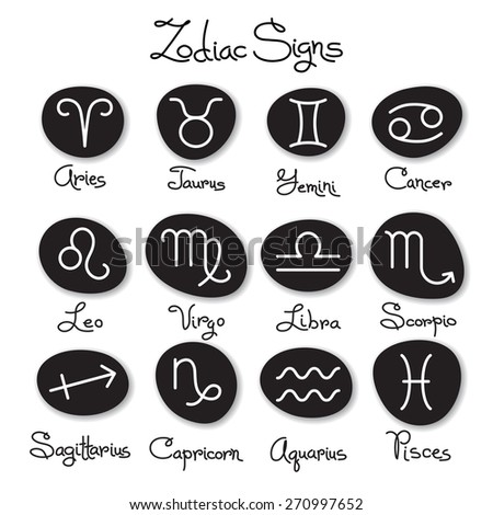 Set of simple zodiac signs with captions.