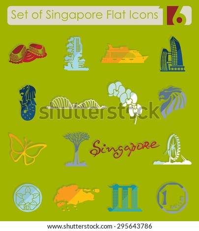 Set of Singapore flat icons for Web and Mobile Applications - stock vector