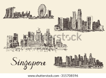 Set of Singapore skylines,  vintage engraved illustration, hand drawn, sketch, Republic of Singapore - stock vector