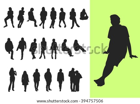 Set of sitting and standing silhouettes - stock vector