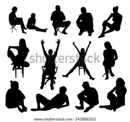 Set of sitting people silhouettes - stock vector