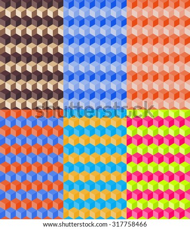 Set of six abstract contrasting geometric seamless patterns - stock vector
