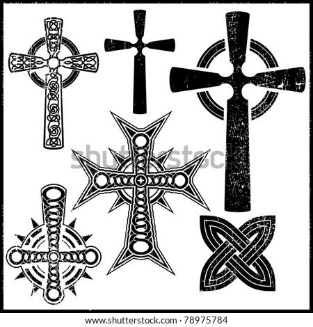 set of six black crosses - stock vector