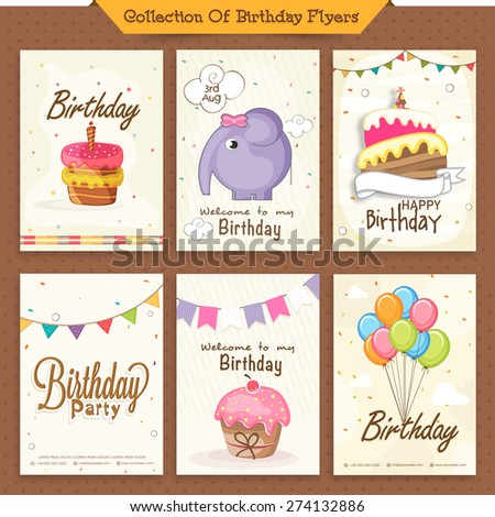 Set of six Brirthday Invitation Cards decorated with sweet cake, colorful balloons and cartoon elephant. - stock vector