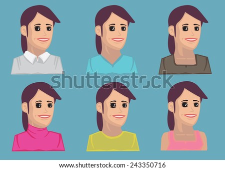 Set of six bust portraits of cartoon women with dimples wearing