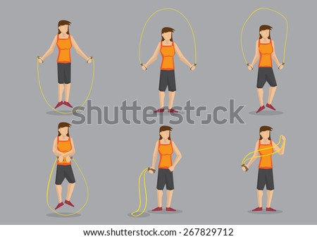 Set of six cartoon woman exercising with skipping rope. Vector character for health and fitness isolated on grey background. - stock vector