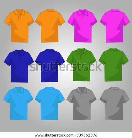 Set of six casual and style colorful polo front and back side