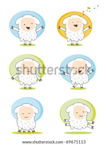 set of six character sheeps - stock vector