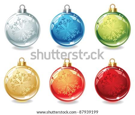 Set of six christmas balls on white background - stock vector