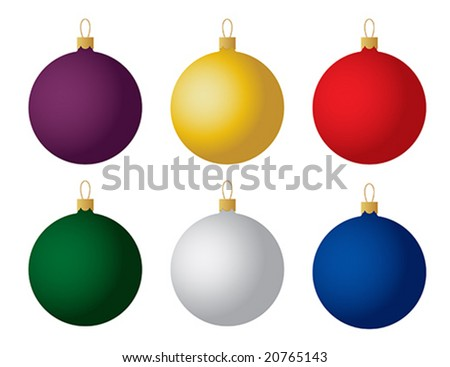 Set of six Christmas ornaments. Vector. - stock vector